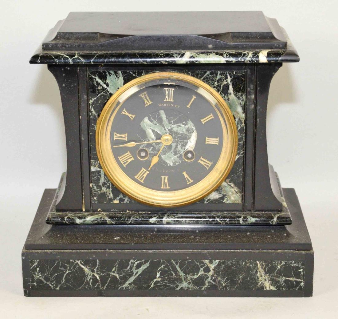 MARBLE MANTEL CLOCK. 9''H x 9.5''W.