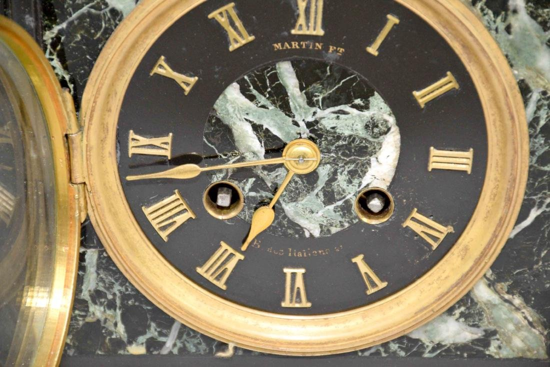 MARBLE MANTEL CLOCK. 9''H x 9.5''W. - 3