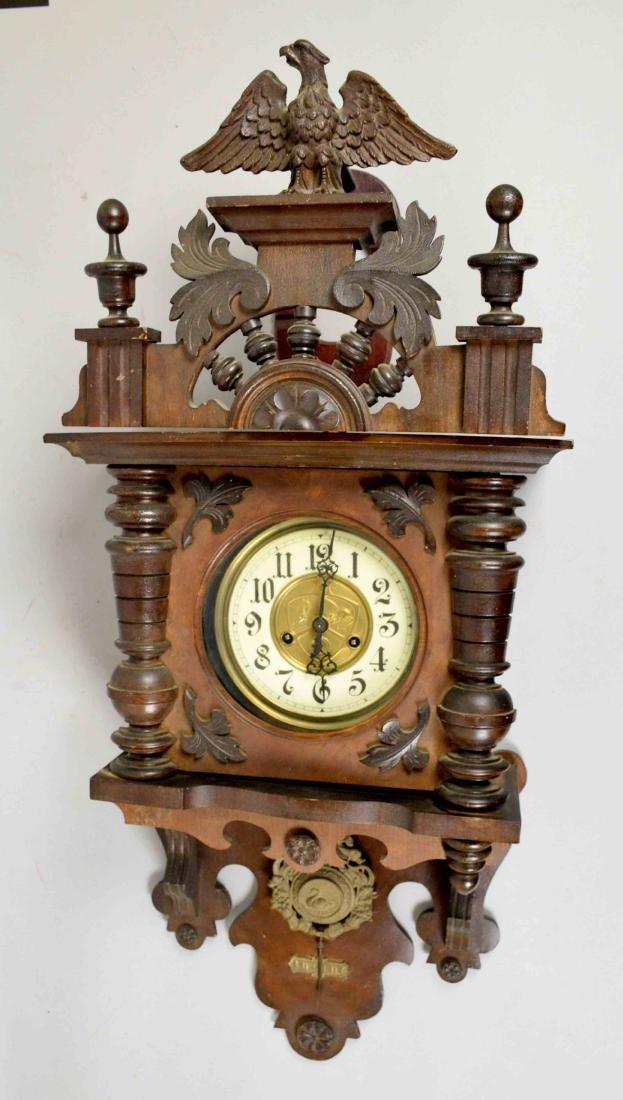 GUSTAVE BECKER REGULATOR CLOCK. 26''H x 16''W.