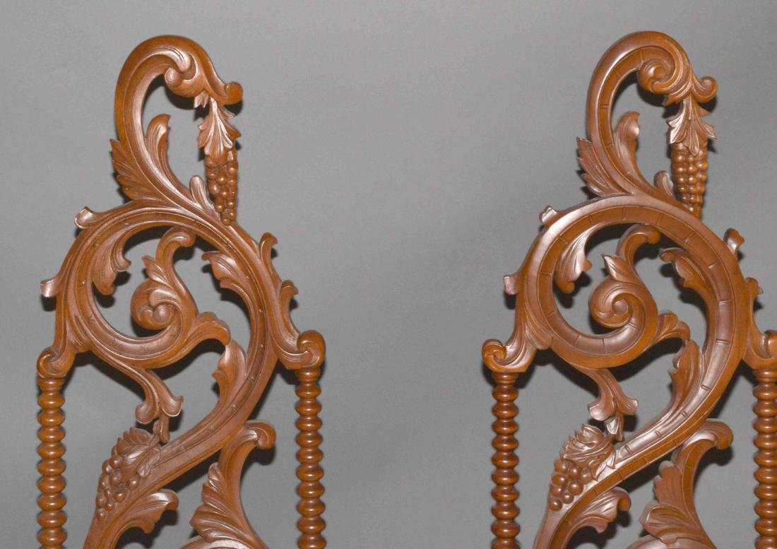 PAIR OF CARVED PARLOR CHAIRS. 48''H x 17''W. - 2