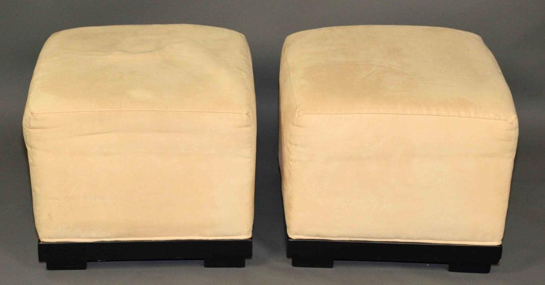 PAIR OF UPHOLSTERED CUBE FOOTSTOOLS. 16''Hx 19''W.