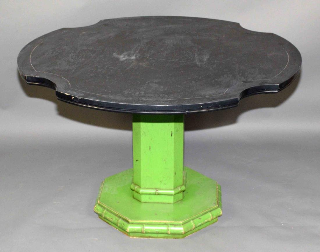 WOOD TABLE WITH BLACK TOP. 26.5''H X 42''W.
