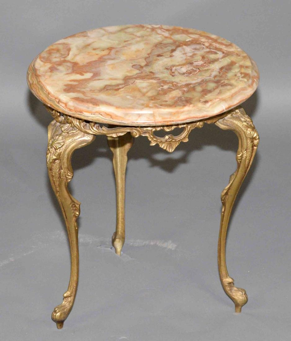MARBLE TOP STAND. 16''H x 13.75'' diameter.