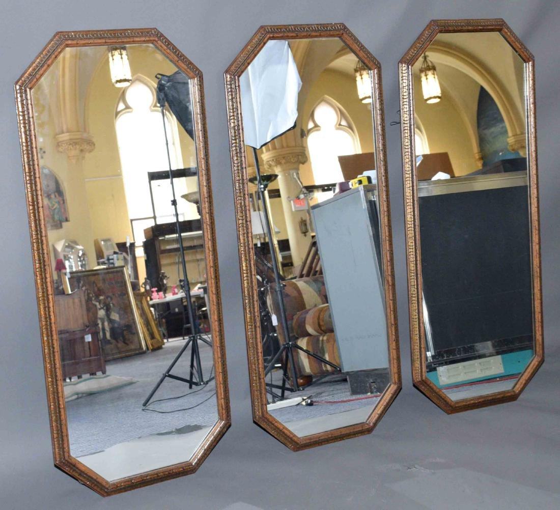 (3) MIRRORS WITH WOOD FRAME. 48.75''H x 20''W.