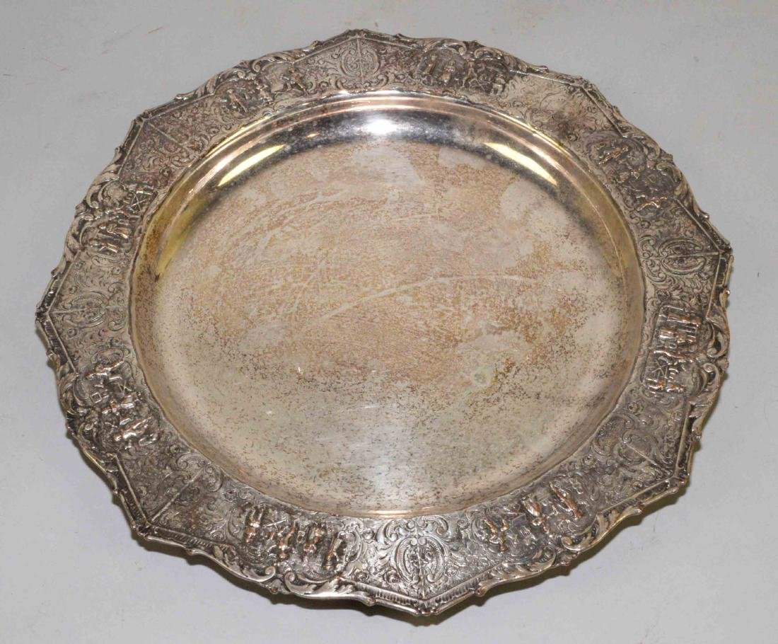 ENGLISH HALLMARKED FIGURAL DECORATED TRAY, silver over