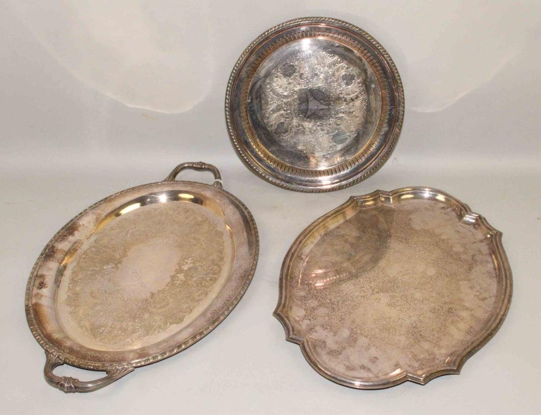COLLECTION OF (3) SILVERPLATE TRAYS. Largest: 24''L x