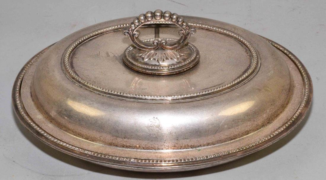 HALLMARKED SILVERPLATE COVERED VEGETABLE. 11''L x 8''W.