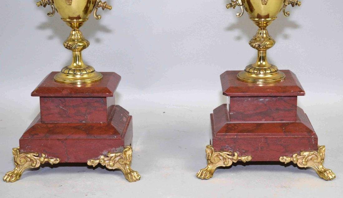 PAIR OF CANDELABRAS, bronze on marble base. 23''H. - 2