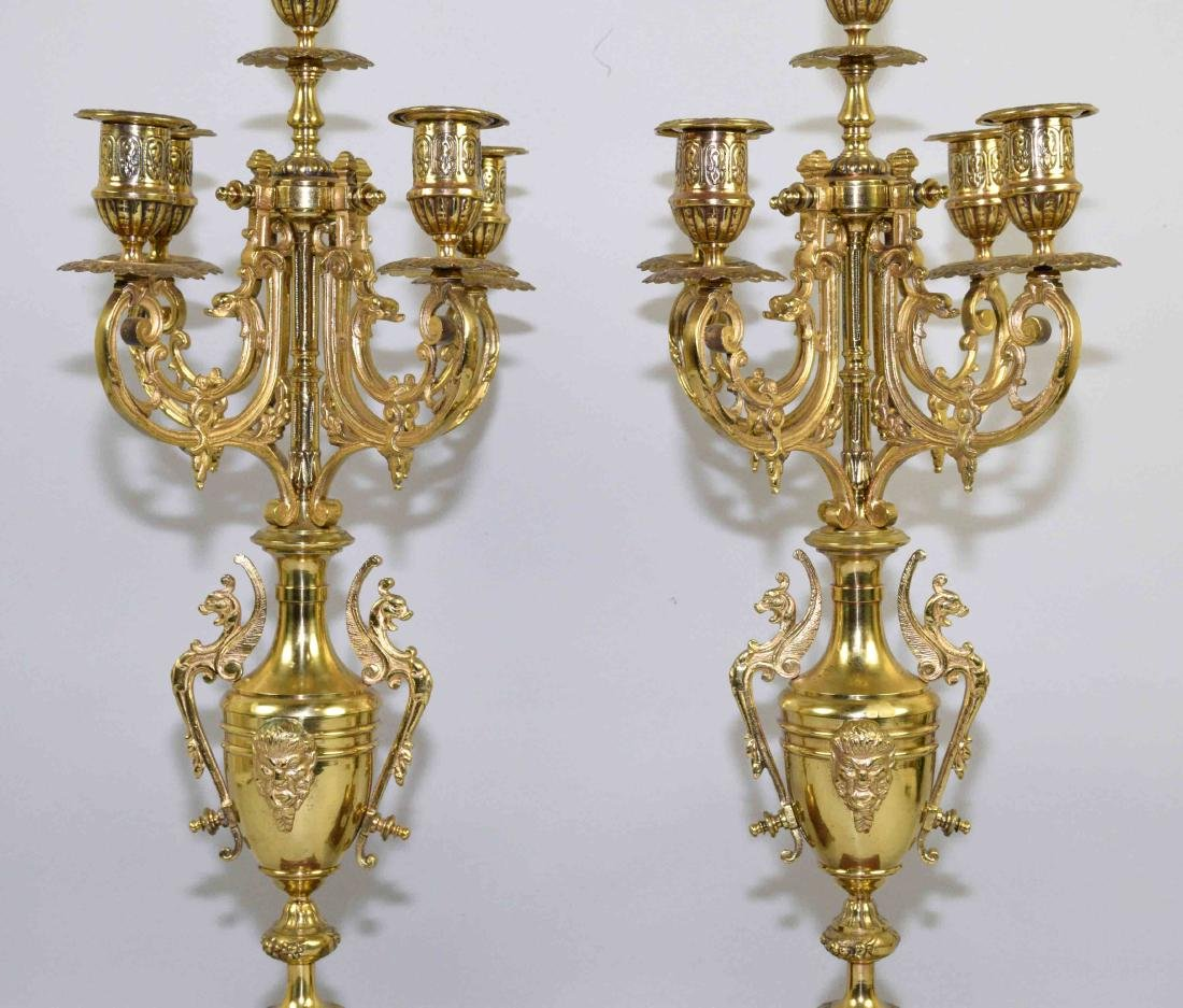 PAIR OF CANDELABRAS, bronze on marble base. 23''H. - 3