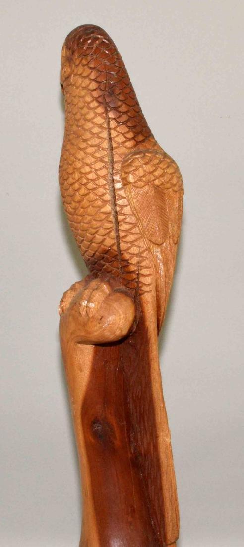 PARROT WOOD CARVING, signed Henry Nassan, 93. 23''H. - 2