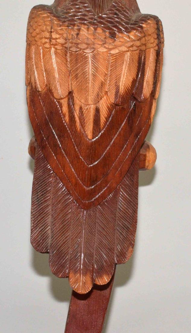 WOODEN EAGLE CARVING, signed Henry Nassan on bottom. - 5