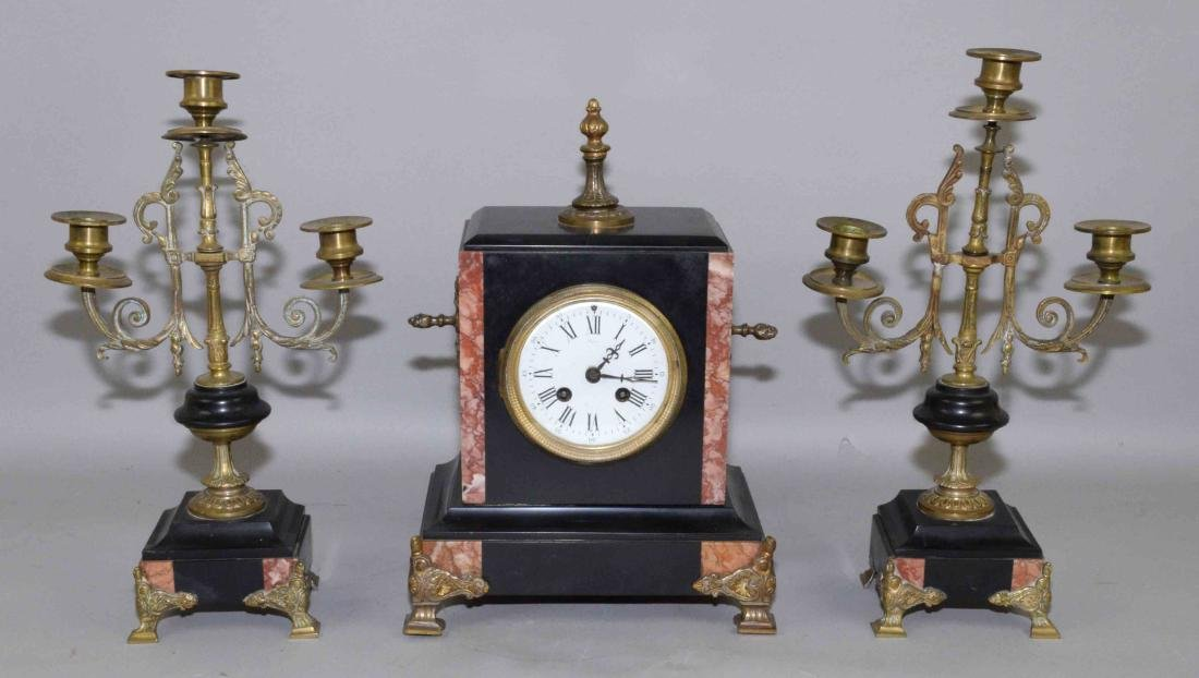 (3) PIECE CLOCK SET, including marble clock and pair of