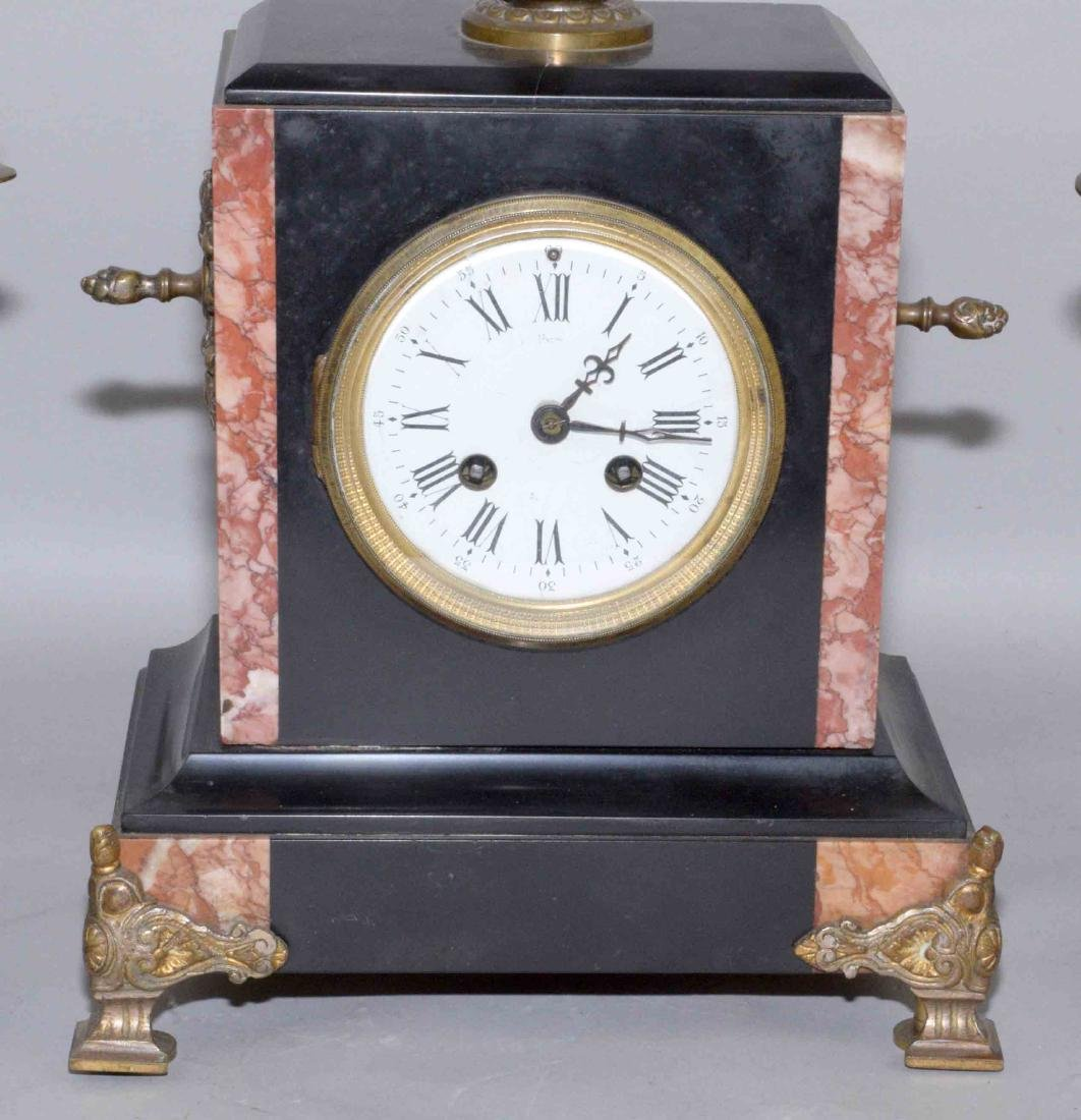 (3) PIECE CLOCK SET, including marble clock and pair of - 2