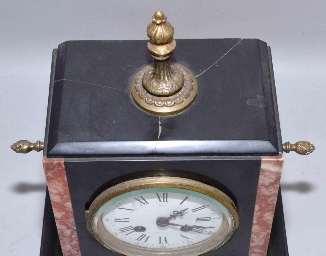 (3) PIECE CLOCK SET, including marble clock and pair of - 5