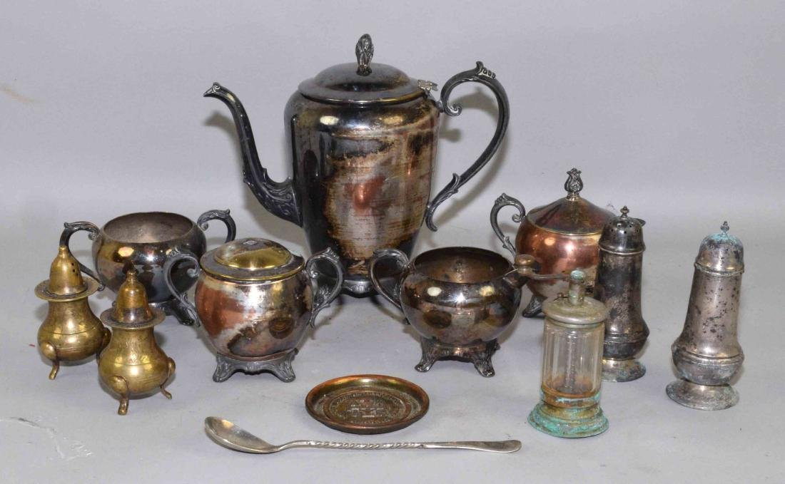 COLLECTION OF MISC. METALWARE, including sterling salt