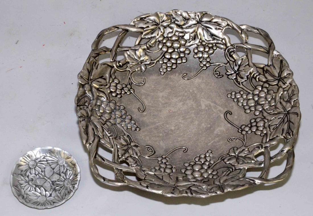 PEWTER BOWL AND WENDELL AUGUST FORGE COASTER. Largest: