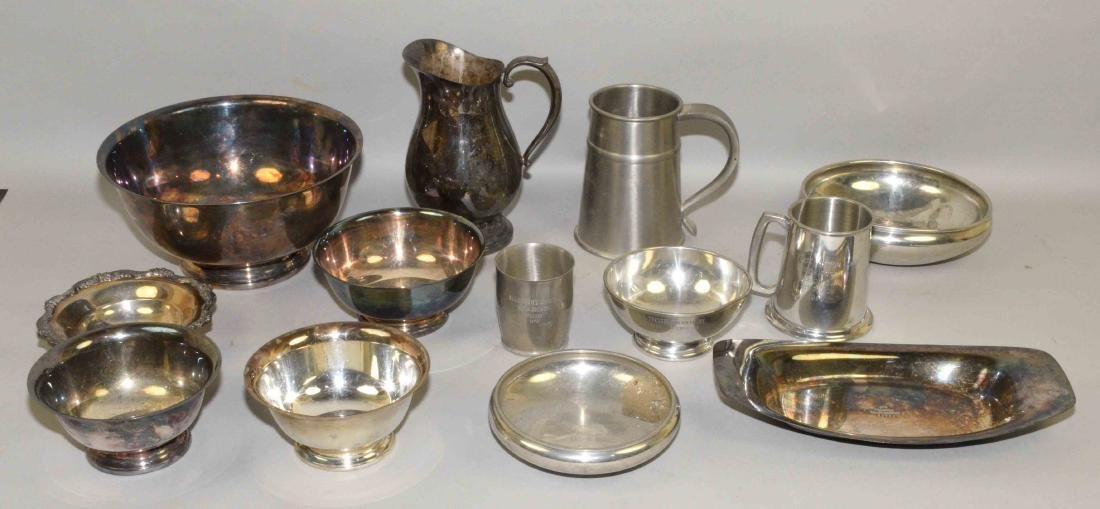 (13) PC SILVERPLATE AND PEWTER LOT. Includes: trophy