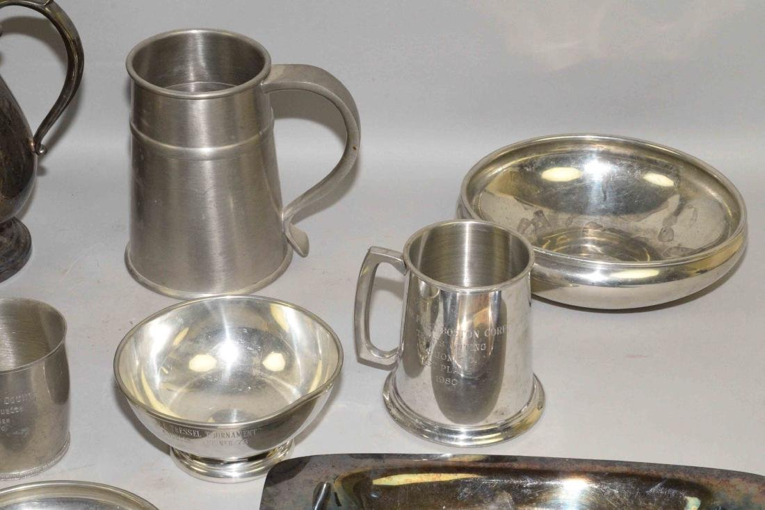 (13) PC SILVERPLATE AND PEWTER LOT. Includes: trophy - 4
