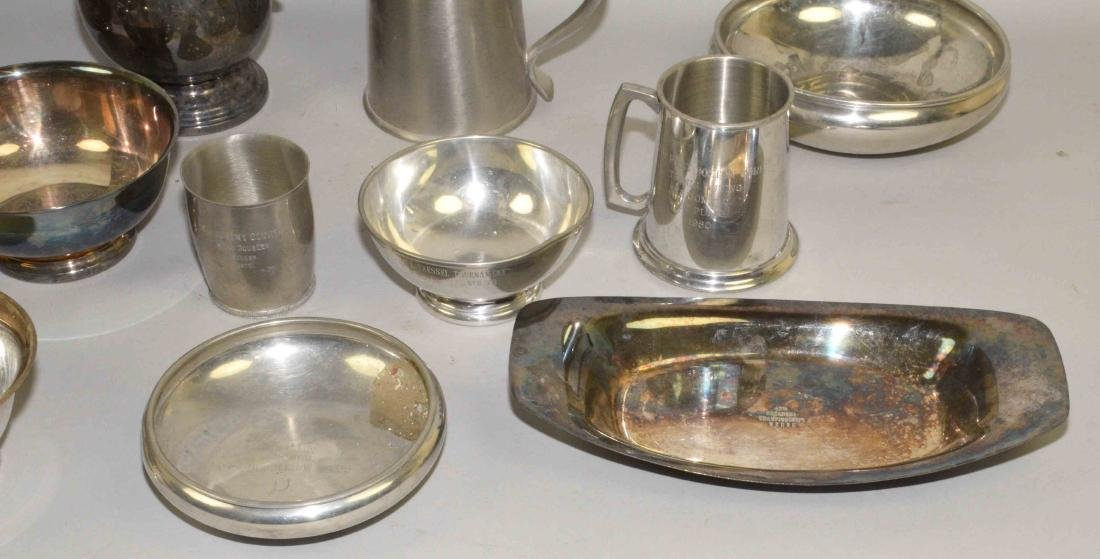 (13) PC SILVERPLATE AND PEWTER LOT. Includes: trophy - 5