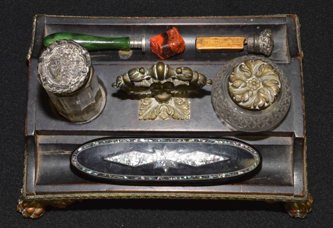 COLLECTION OF (2) SEALS AND WAX,inlaid box and wood,