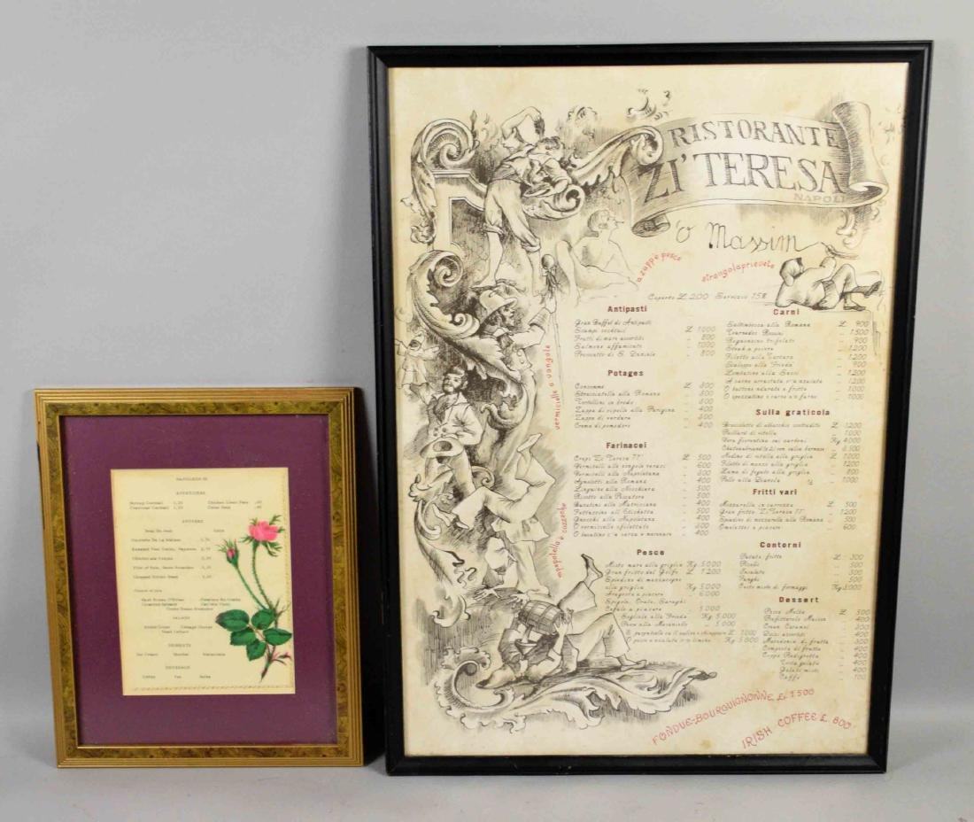 PAIR OF ANTIQUE RESTORANTE MENU, Napoli, largest 27''H