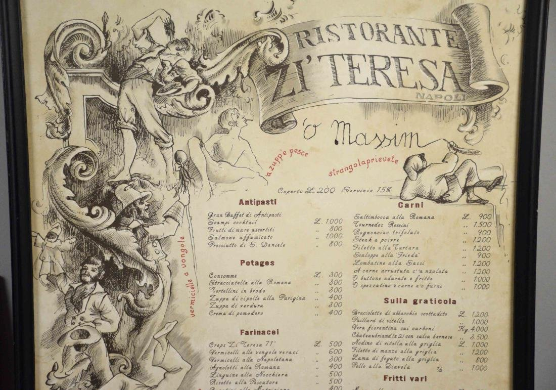 PAIR OF ANTIQUE RESTORANTE MENU, Napoli, largest 27''H - 3