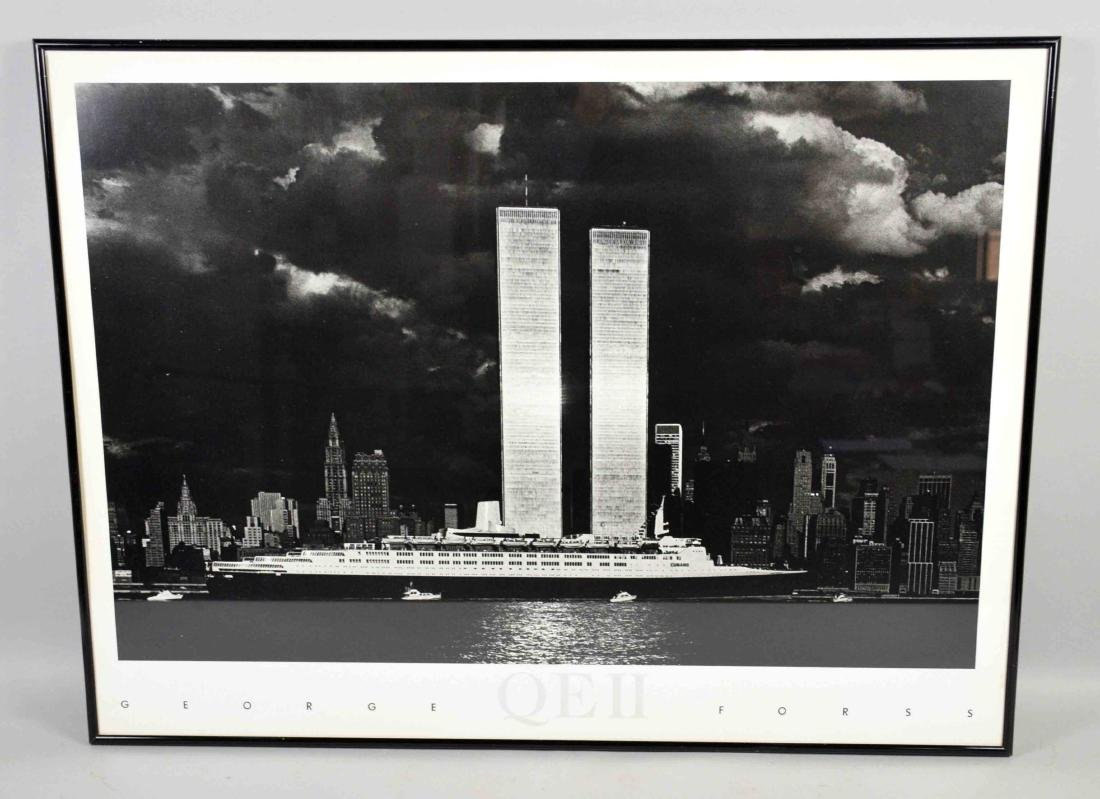 GEORGE FORSS, QEII PHOTO POSTER, NYC Twin Towers in