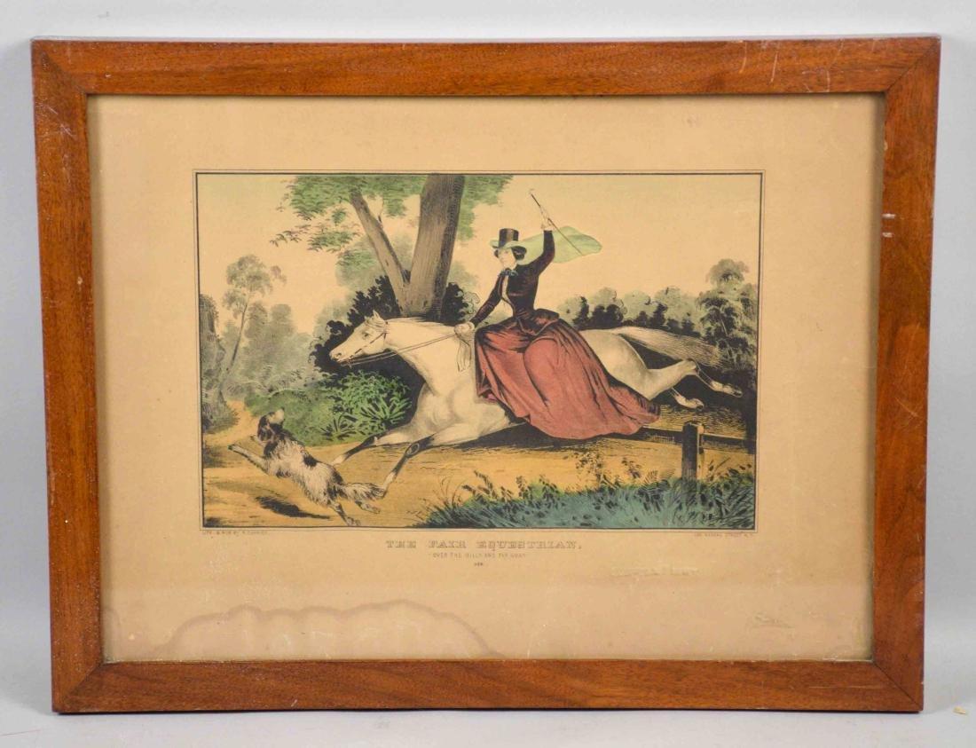 N. CURRIER PRINT, ''The Fair Equestrian'', 13''H x