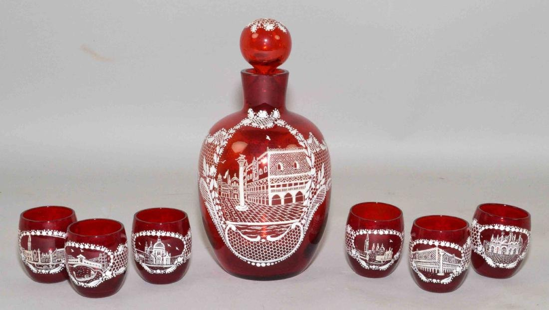 RUBY GLASS PAINTED DECANTER SET, 6 glasses and