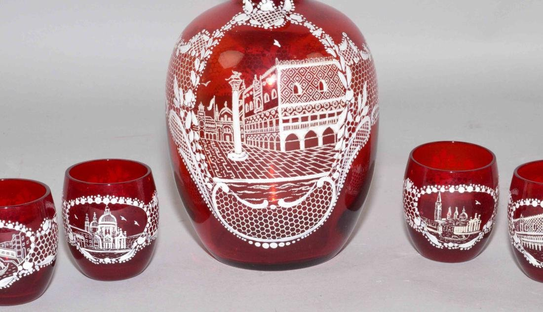 RUBY GLASS PAINTED DECANTER SET, 6 glasses and - 2