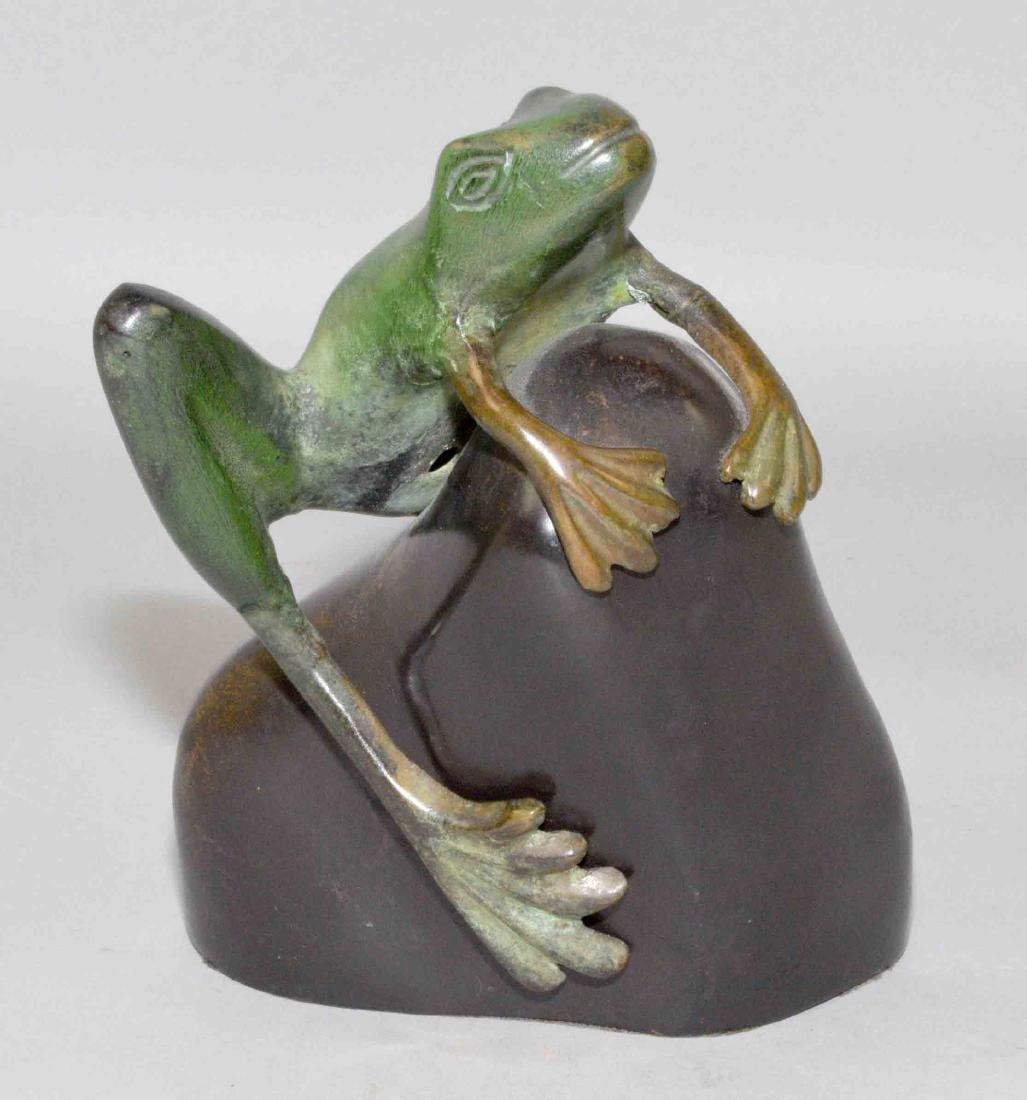METAL FROG PAPERWEIGHT, 6''H.