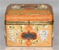 ANTIQUE PAINTED CRYSTAL BOX WITH APPLIED FLOWERS,