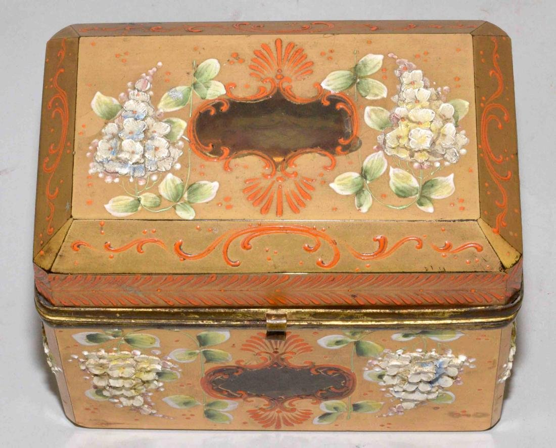 ANTIQUE PAINTED CRYSTAL BOX WITH APPLIED FLOWERS, - 2
