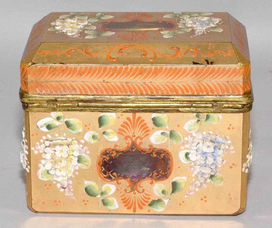 ANTIQUE PAINTED CRYSTAL BOX WITH APPLIED FLOWERS, - 4