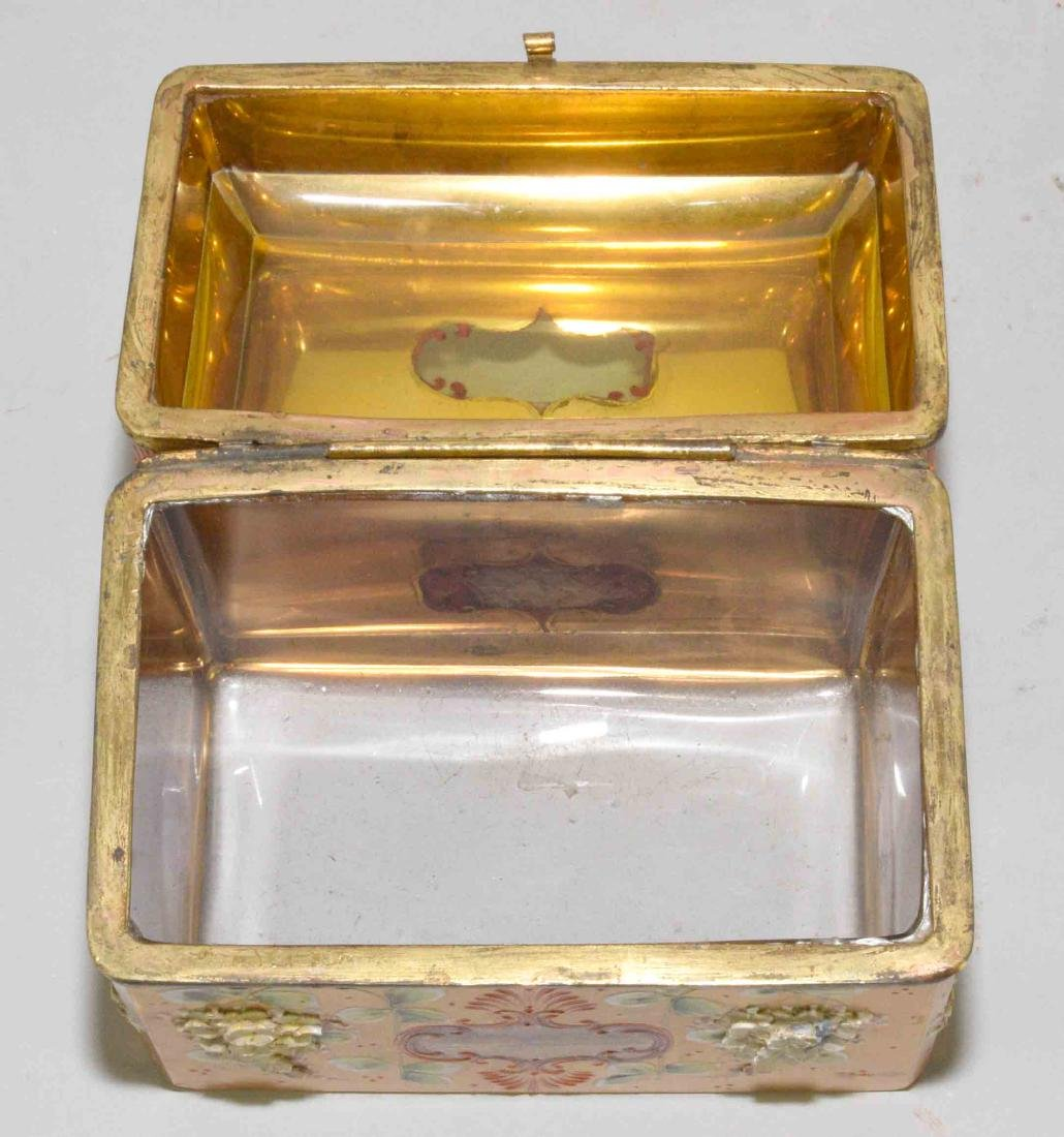 ANTIQUE PAINTED CRYSTAL BOX WITH APPLIED FLOWERS, - 5