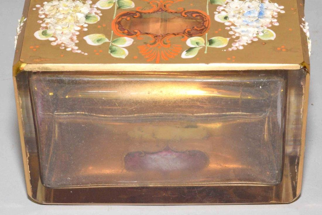 ANTIQUE PAINTED CRYSTAL BOX WITH APPLIED FLOWERS, - 6