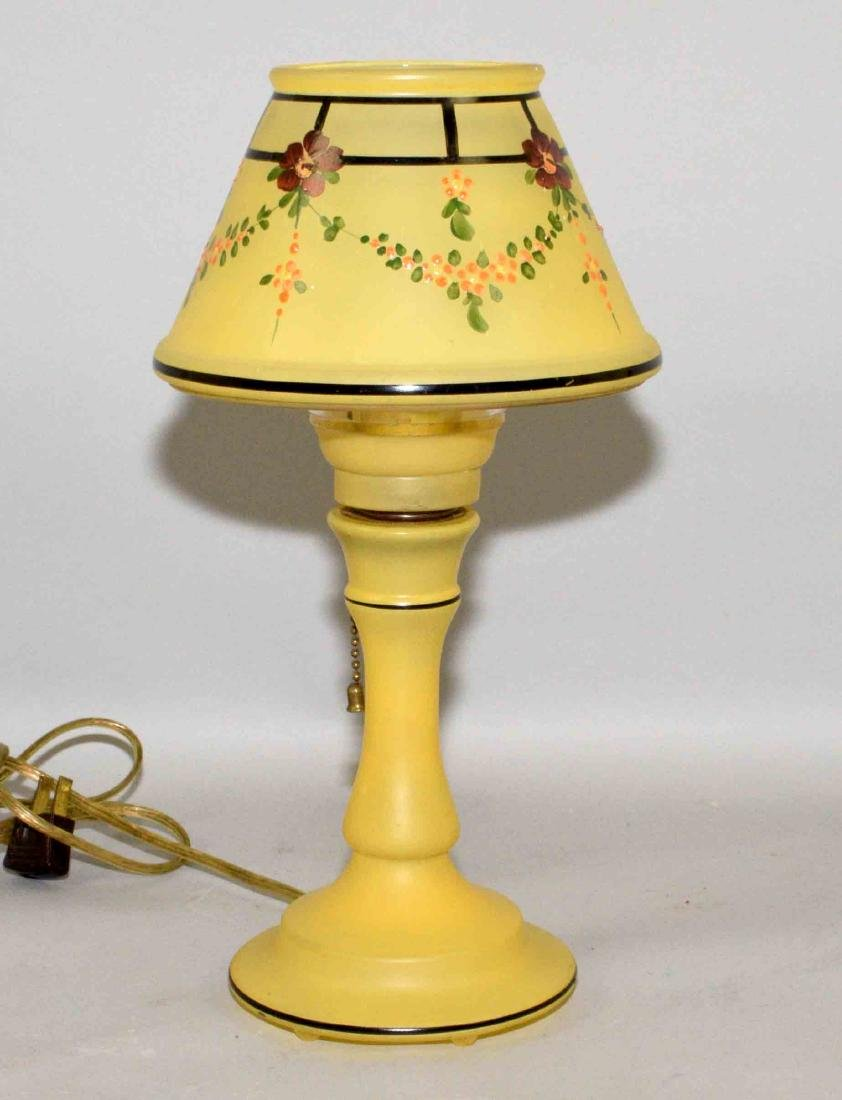 HAND PAINTED YELLOW GLASS LAMP, 13''H.
