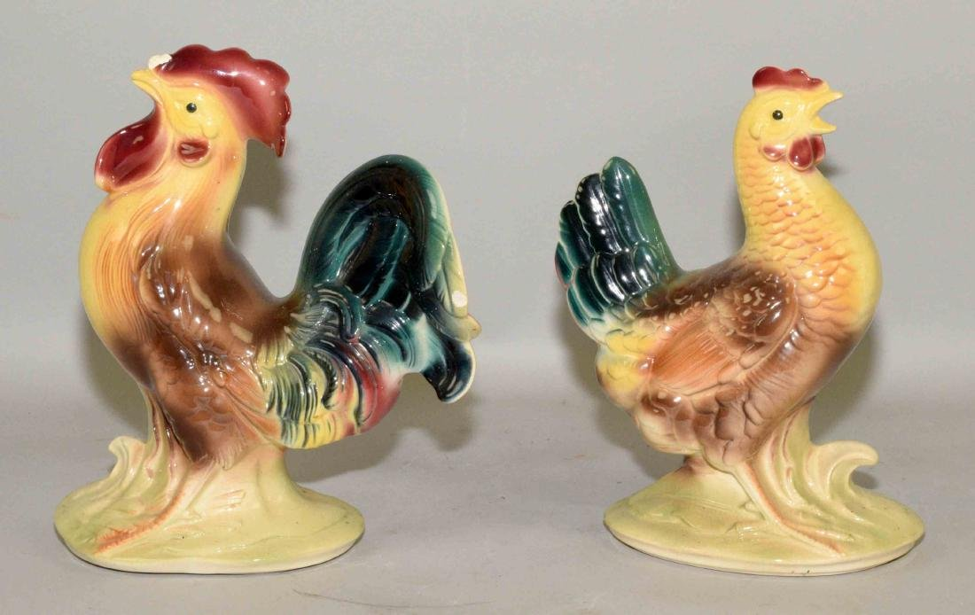 CHICKEN AND ROOSTER CERAMIC FIGURINES. Condition: chip