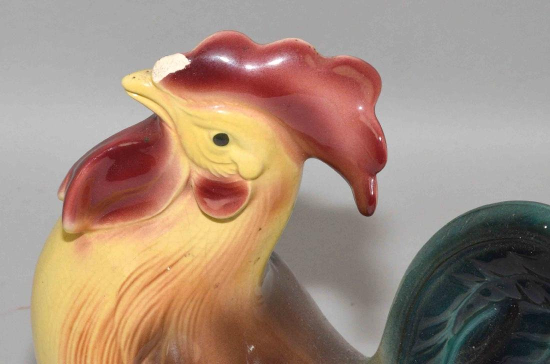 CHICKEN AND ROOSTER CERAMIC FIGURINES. Condition: chip - 2