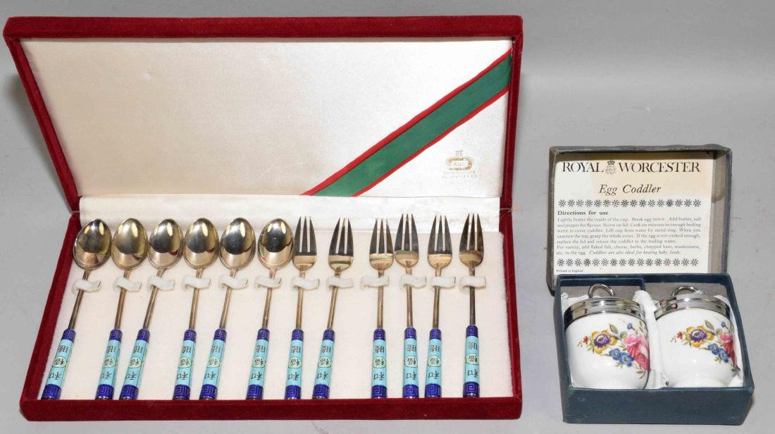 CASED SET OF ASIAN FORK AND SPOON AND ROYAL WORCESTER