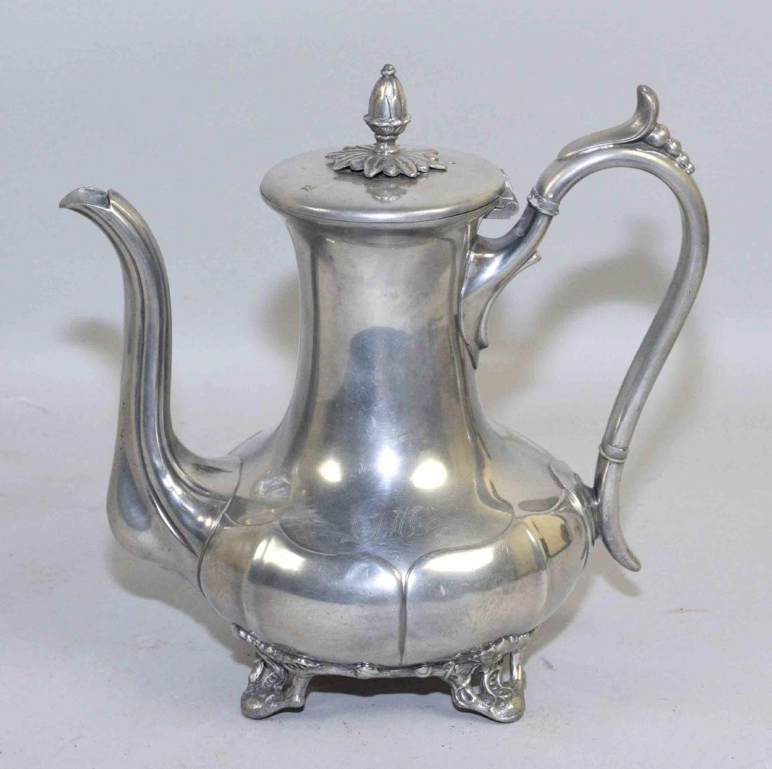 19th C. PEWTER COFFEE POT, by James Dixon & Sons,