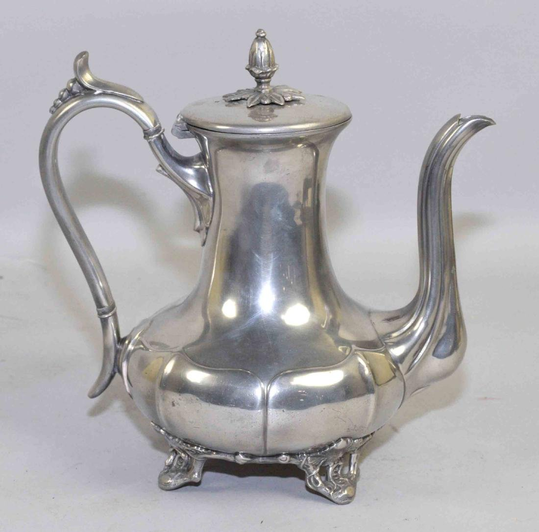 19th C. PEWTER COFFEE POT, by James Dixon & Sons, - 3