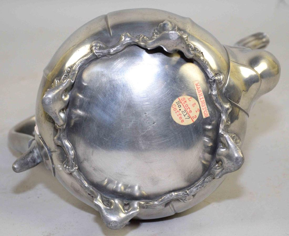 19th C. PEWTER COFFEE POT, by James Dixon & Sons, - 6