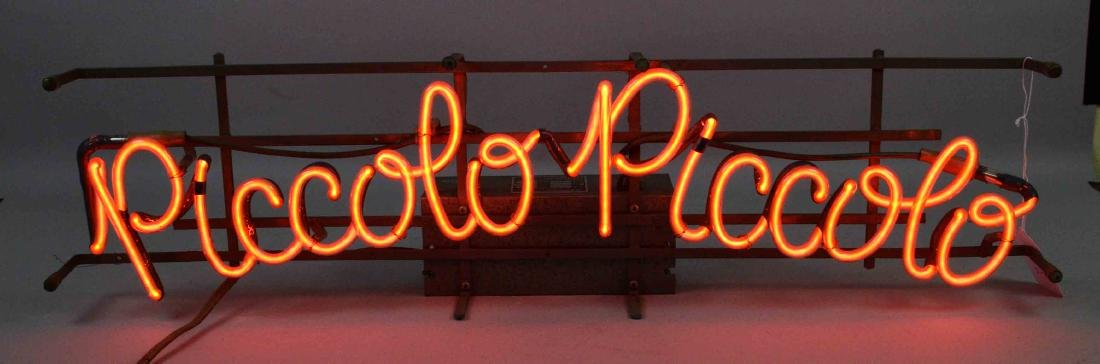 NEON SIGN - ''PICCOLO PICCOLO''. Orange neon sign,