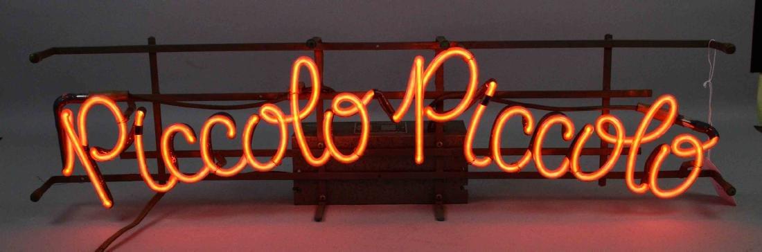 NEON SIGN - ''PICCOLO PICCOLO''. Orange neon sign,