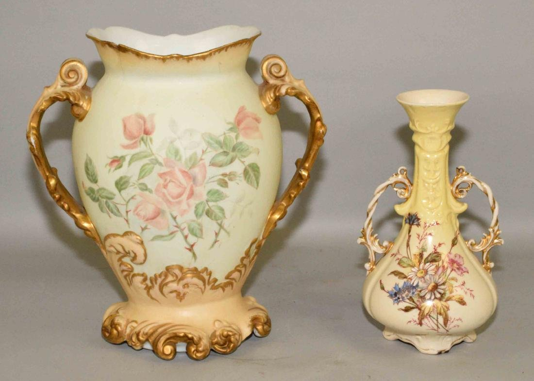 PAIR OF FLORAL HAND PAINTED VASES. Condition: some