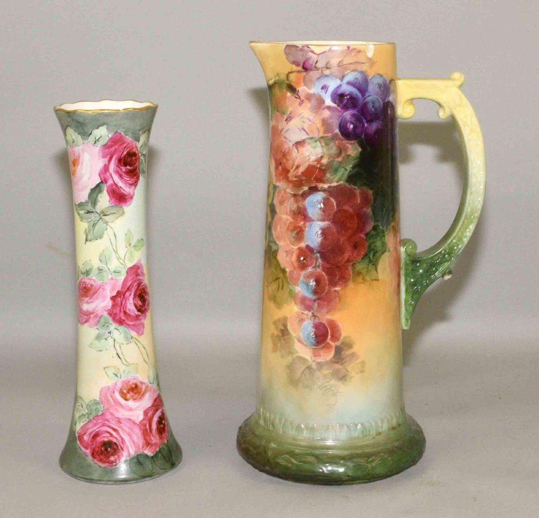 PAIR OF FLORAL PAINTED PORCELAINS. Condition: some