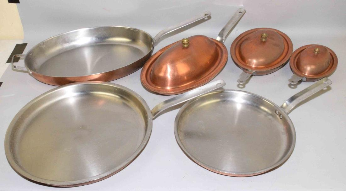 COMMERCIAL (6) PIECE SET OF COPPER LINED, ''SCAVULLO