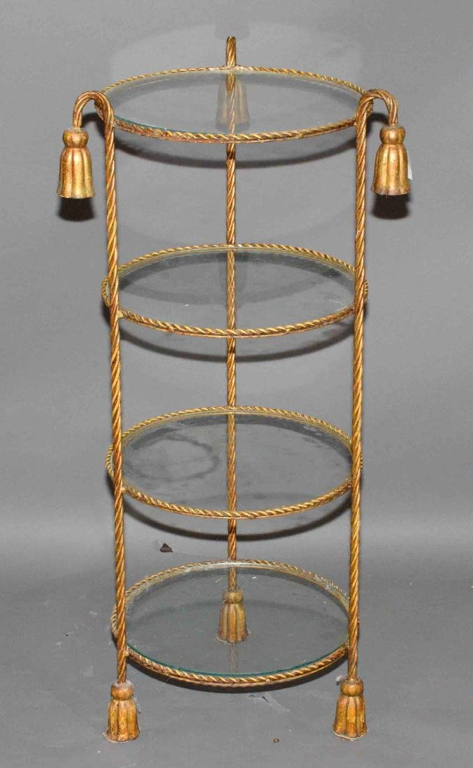 BRONZE AND GLASS FOUR SHELF STAND. 39''H x 15''