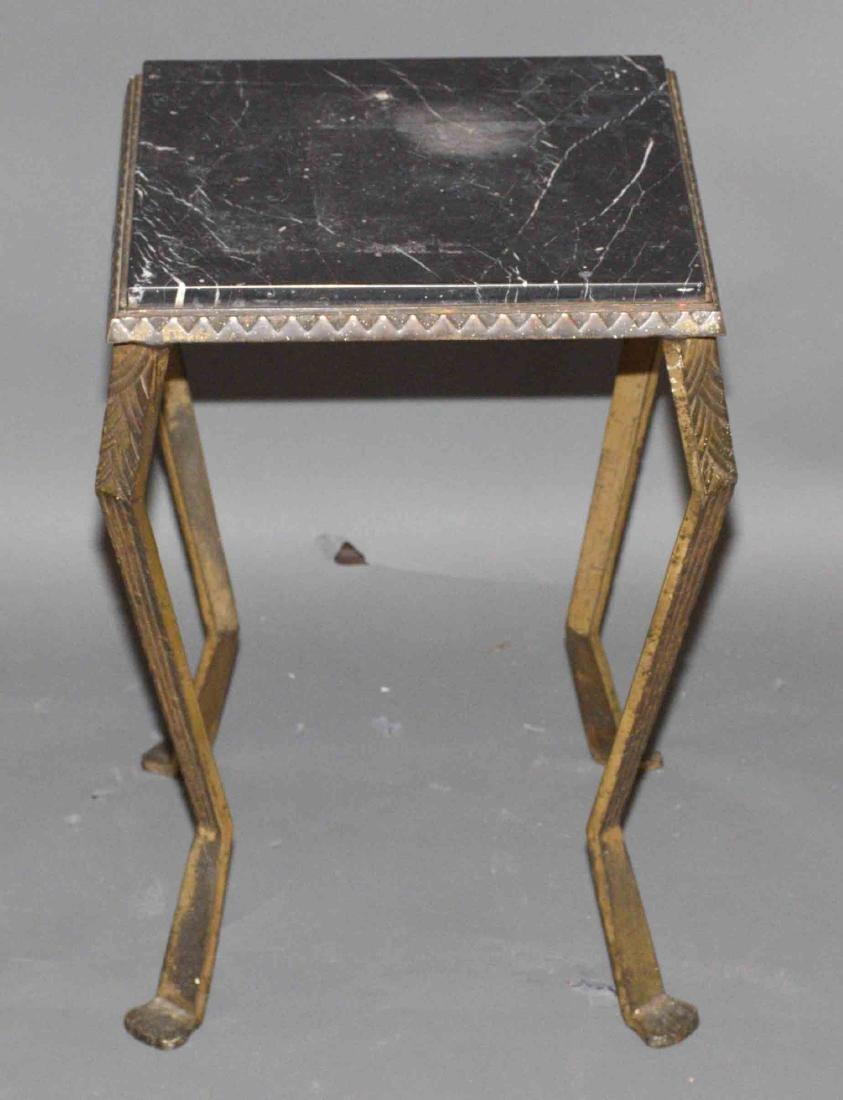 METAL AND MARBLE STAND. 19.5''H x 12.5''W x 12.5''D.